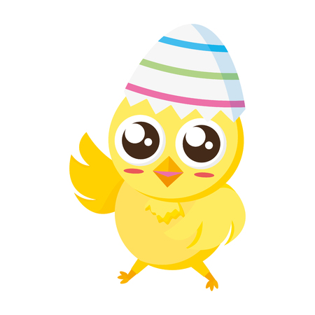 cute chick easter in egg shell vector illustration
