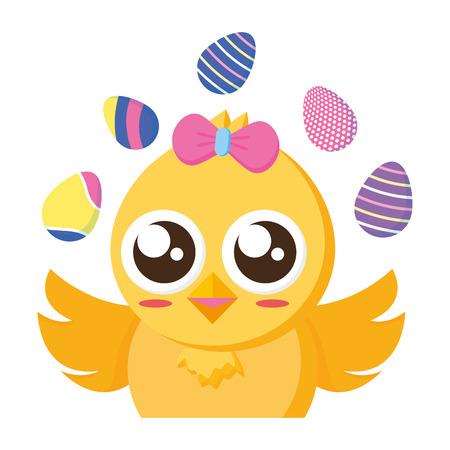 cute chick easter decorative eggs vector illustration