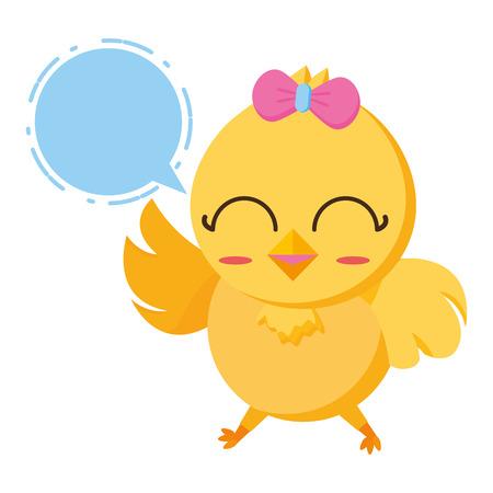 cute chick female cartoon speech bubble vector illustration