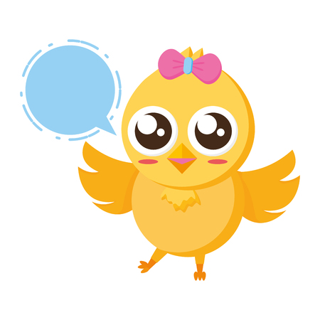 cute chick female cartoon speech bubble vector illustration