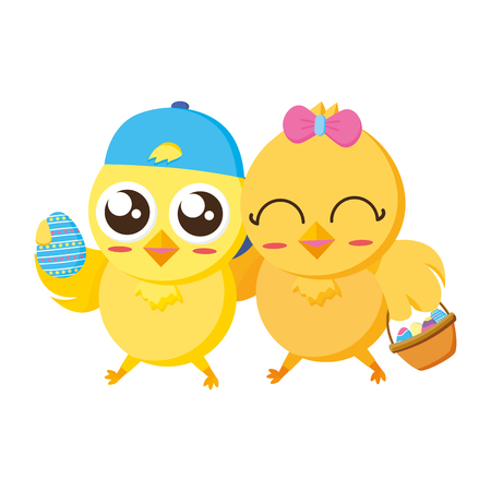 cute chicks easter with basket and eggs vector illustration