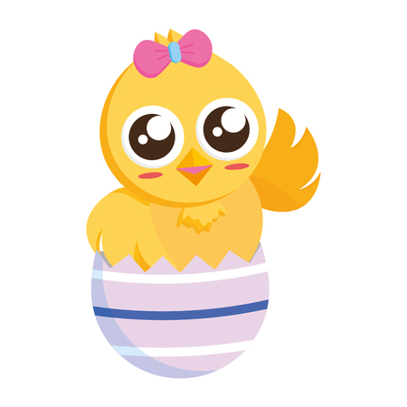 cute chick easter in egg shell vector illustration Standard-Bild - 118547899