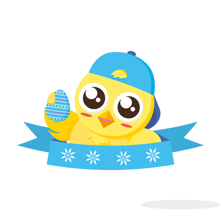 cute chick easter with cap and egg vector illustration Illustration