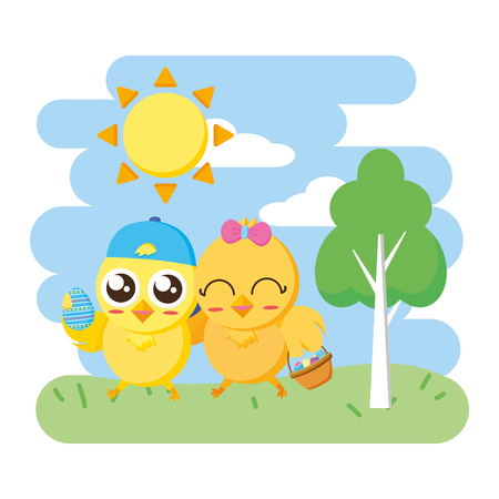 cute chicks easter with basket in the park vector illustration