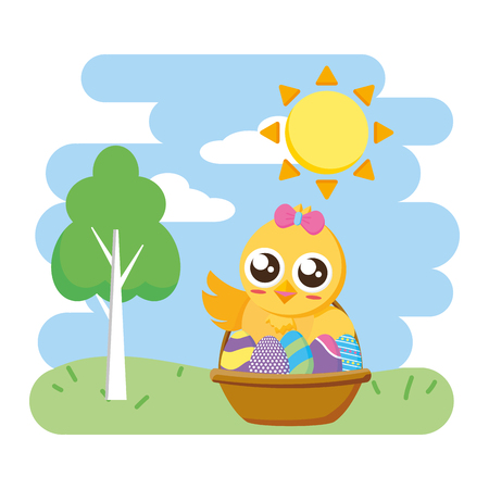 cute chick easter in basket with eggs park background vector illustration