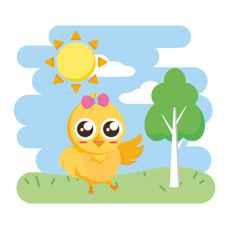 cute chick female cartoon in the park vector illustration Imagens - 124624578