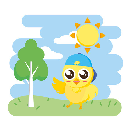 cute chick female cartoon in the park vector illustration