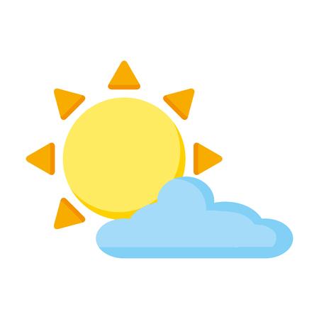 sun cloud sky on white background vector illustration