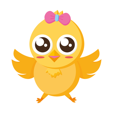 cute chick female cartoon on white background vector illustration