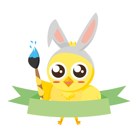 cute chick easter with ears and brush vector illustration Ilustração