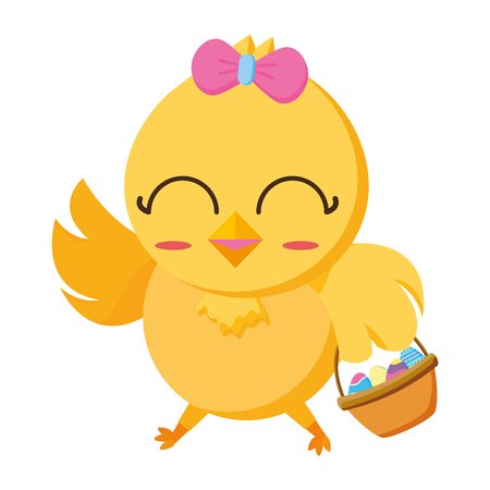 cute chick female cartoon with basket eggs vector illustration
