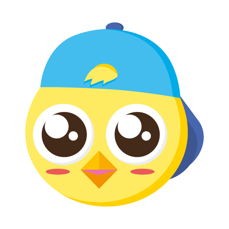 cute chick head with cap vector illustration Illustration