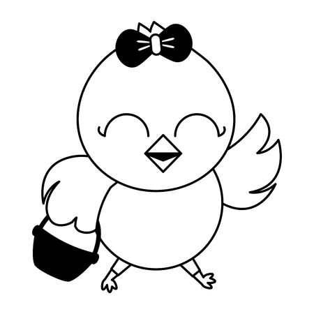 cute chick female cartoon with basket vector illustration