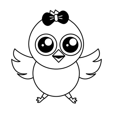 cute chick female cartoon on white background vector illustration Standard-Bild - 124624595