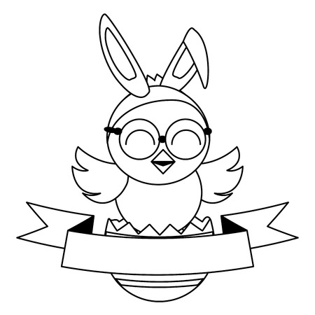 cute chick easter with ears and eyeglasses vector illustration