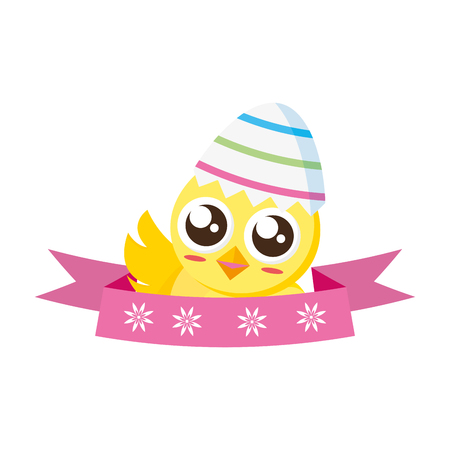 cute chick easter shell egg ribbon vector illustration