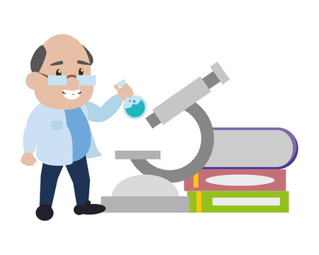 scientist professor with flask microscope and books science vector illustration Banque d'images - 124624602
