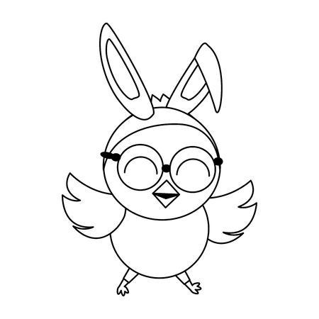 cute chick easter ears eyeglasses vector illustration