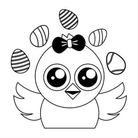 cute chick easter decorative eggs vector illustration Foto de archivo - 124624607