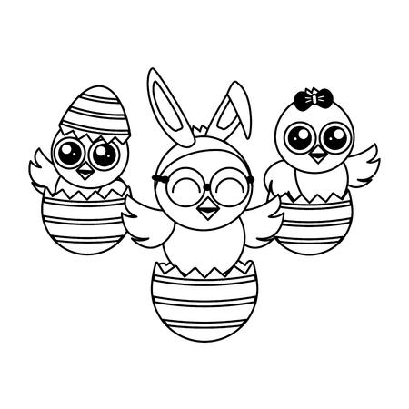 cute chicks easter in eggs shell vector illustration