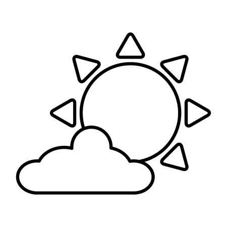 sun cloud sky on white background vector illustration