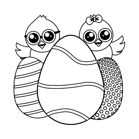 cute chicks easter with decorative eggs vector illustration