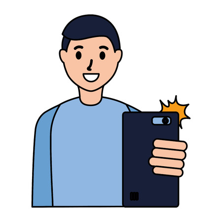 man taking selfie with cellphone vector illustration Illustration