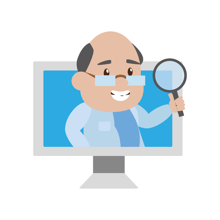 scientist professor with magnifier in computer science vector illustration Banque d'images - 124624622