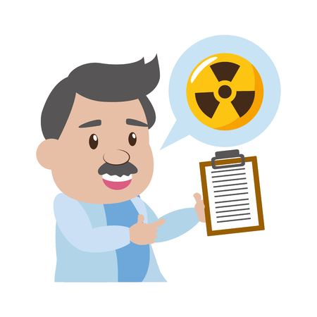 scientist professor with clipboard radiation science vector illustration