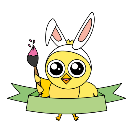cute chick easter with ears and brush vector illustration Illustration