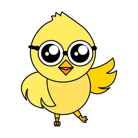 cute chick cartoon on white background vector illustration