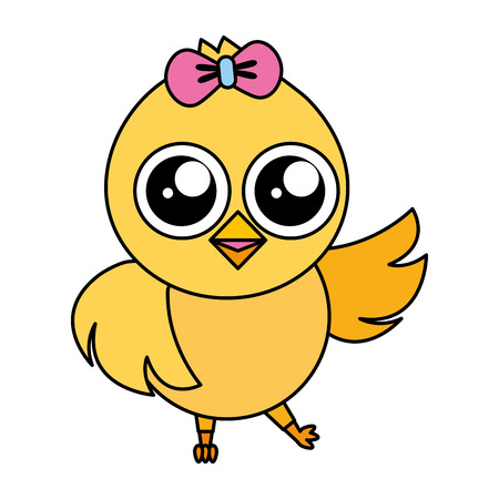 cute chick female cartoon on white background vector illustration Imagens - 124624638