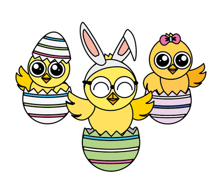 cute chicks easter in eggs shell vector illustration