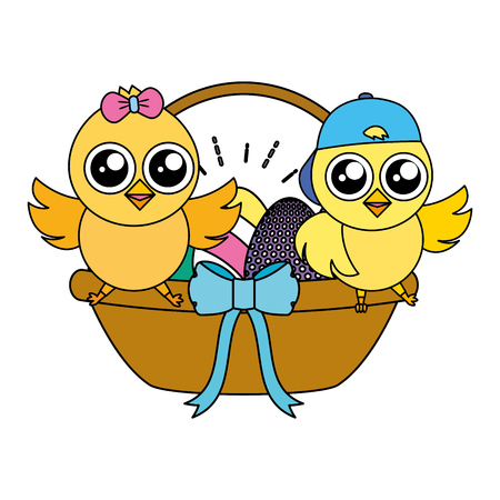 cute chicks easter with basket eggs vector illustration