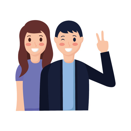 happy couple posing hand peace and love vector illustration