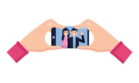 Hände mit Handy-Paar unter Selfie-Vektor-Illustration