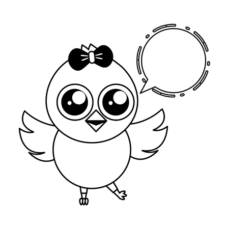 cute chick female cartoon speech bubble vector illustration Standard-Bild - 124624646