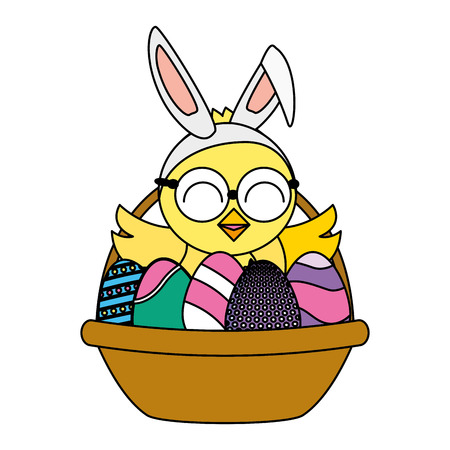 cute chick easter in basket with eggs vector illustration Ilustrace