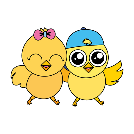 cute chicks easter vector illustration