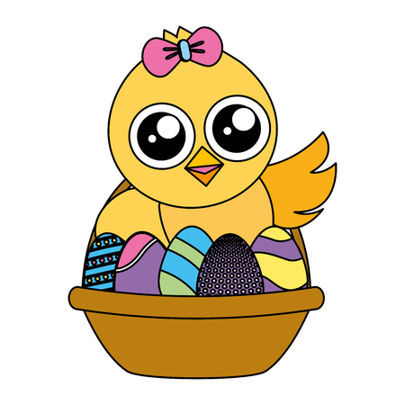 cute chick easter in basket with eggs vector illustration Illustration