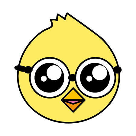 cute chick head with eyeglasses vector illustration