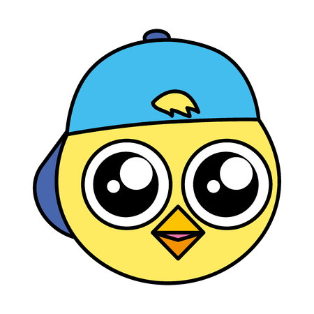 cute chick head with cap vector illustration  イラスト・ベクター素材