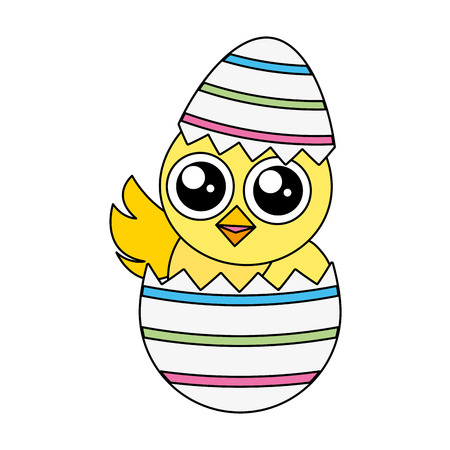 cute chick easter in egg shell vector illustration