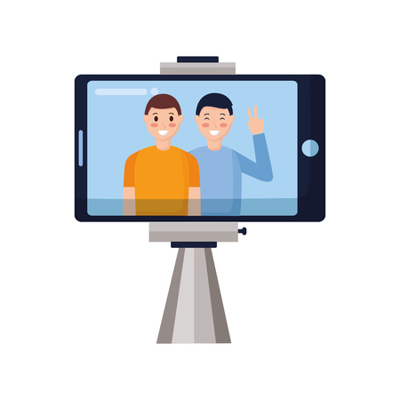 cellphone with two men taking selfie vector illustration