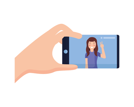 hand with mobile woman taking selfie vector illustration Stock fotó - 118547957
