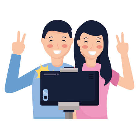 happy couple taking selfie with smartphone vector illustration