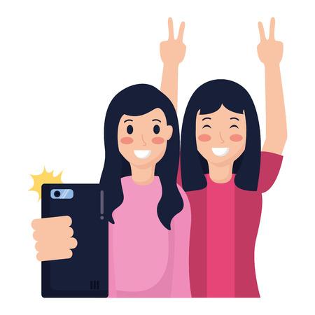 two friends women taking selfie vector illustration Illustration