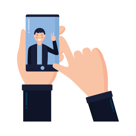 hand with mobile man taking selfie vector illustration Illustration