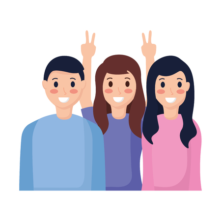 smiling people taking selfie with cellphone vector illustration Stock Vector - 118547964