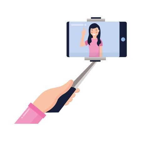 woman holding mobile stick taking selfie vector illustration Stock Vector - 118547967